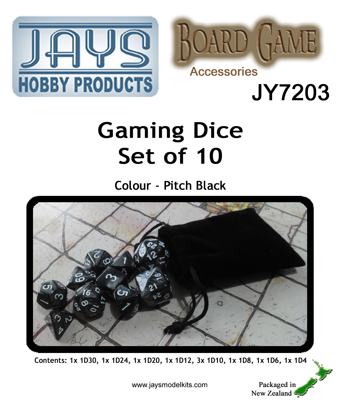 JY7203 Gaming Dice Set of Ten - Colour: Pitch Black
