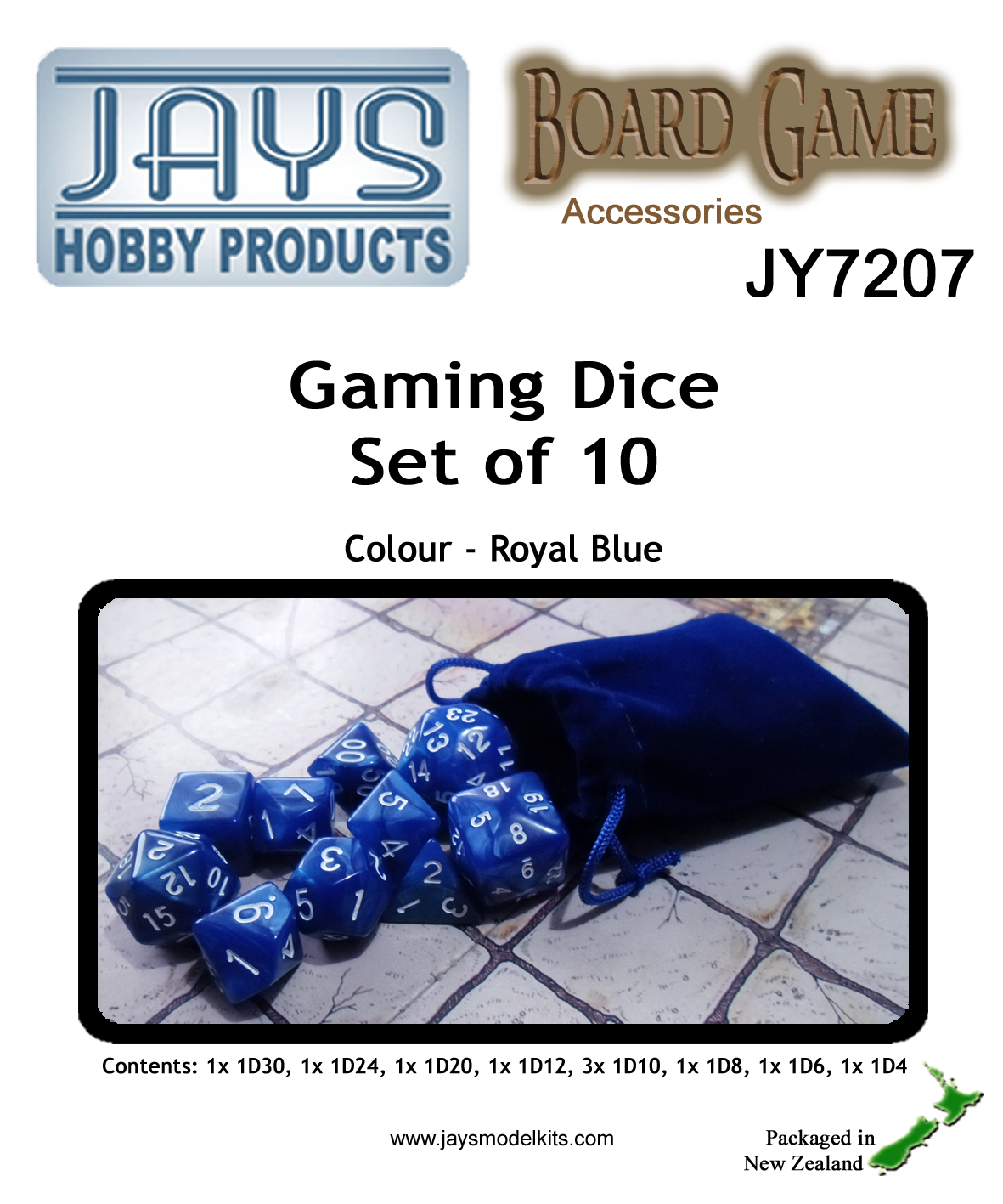 JY7207 Gaming Dice Set of Ten - Colour: Royal Blue