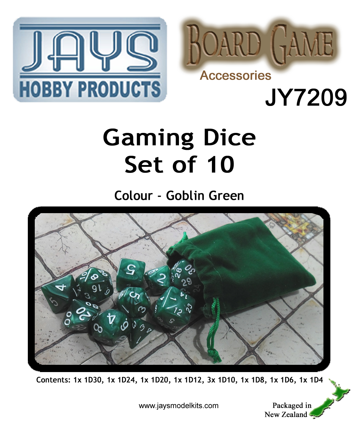 JY7209 Gaming Dice Set of Ten - Colour: Goblin Green