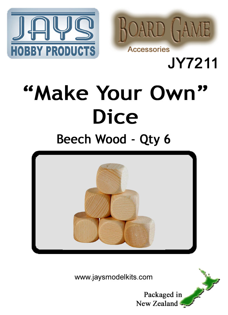 "JY7211 ""Make Your Own"" Dice 18mm Pk.6"