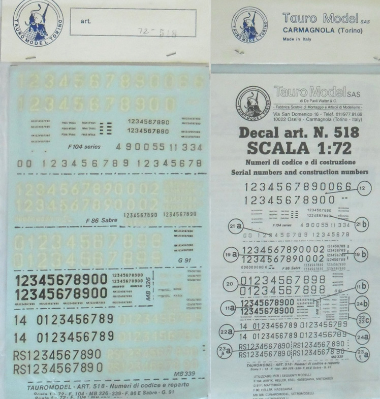 72-518 Serial & Construction Numbers